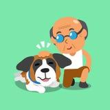 Cartoon senior man and his dog Royalty Free Stock Photo