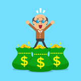Cartoon senior man and money bags Royalty Free Stock Photography