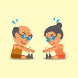 Cartoon senior man and senior woman do sitting toe touch exercise Stock Image