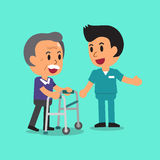 Cartoon senior man walking with paddle walker and male nurse Stock Photo