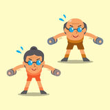 Cartoon senior man and woman doing dumbbell bent over lateral raise exercise Stock Photo