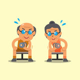 Cartoon senior man and woman doing dumbbell concentration curl exercise Royalty Free Stock Image