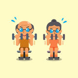 Cartoon senior man and woman doing dumbbell curl exercise Royalty Free Stock Photos