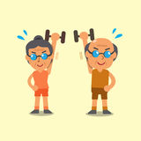 Cartoon senior man and woman doing dumbbell exercise Royalty Free Stock Photography