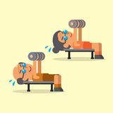 Cartoon senior man and woman doing dumbbell press exercise Stock Image