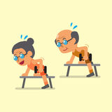Cartoon senior man and woman doing dumbbell row exercise Royalty Free Stock Images