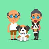 Cartoon senior people with dogs Royalty Free Stock Photography