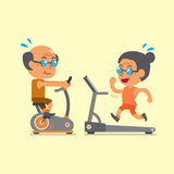 Cartoon senior people doing exercise with exercise bike and treadmill Stock Images