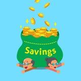 Cartoon senior people earning money Stock Photo