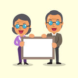 Cartoon senior people holding board for presentation Royalty Free Stock Image