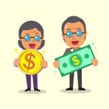 Cartoon senior people holding money Stock Photos
