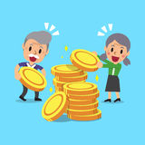 Cartoon senior people with money coins Stock Photography