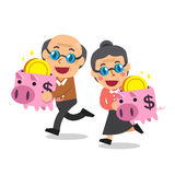 Cartoon senior people with piggy banks. For design Royalty Free Stock Photography