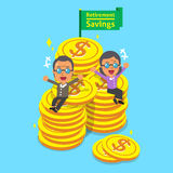 Cartoon senior people with retirement savings Royalty Free Stock Photo