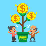 Cartoon senior people with retirement savings money tree Stock Images