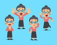 Cartoon senior woman character poses Royalty Free Stock Photos