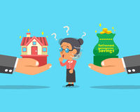 Cartoon senior woman choosing between house and retirement savings money. For design Stock Image
