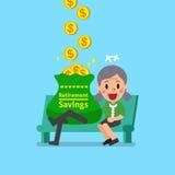 Cartoon senior woman earning money Royalty Free Stock Photography