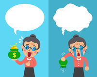 Cartoon senior woman expressing different emotions with speech bubbles Royalty Free Stock Photography
