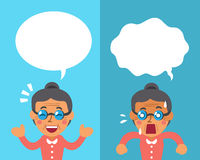 Cartoon a senior woman expressing different emotions with white speech bubbles Royalty Free Stock Photos