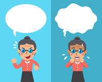 Cartoon senior woman expressing different emotions with white speech bubbles Stock Photography