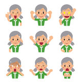 Cartoon a senior woman faces showing different emotions Royalty Free Stock Image