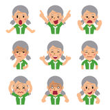 Cartoon senior woman faces showing different emotions. For design Royalty Free Stock Photo