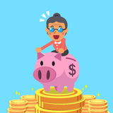 Cartoon senior woman riding pink piggy bank with money background Stock Images