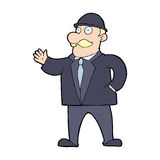 Cartoon sensible business man in bowler hat Royalty Free Stock Image