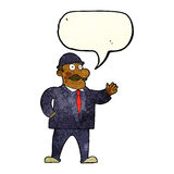 Cartoon sensible business man in bowler hat with speech bubble Stock Images