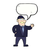 Cartoon sensible business man in bowler hat with speech bubble Royalty Free Stock Photography