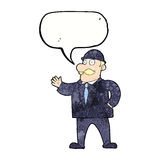 Cartoon sensible business man in bowler hat with speech bubble Stock Photos