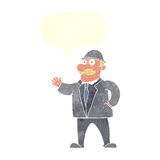 cartoon sensible business man in bowler hat with speech bubble Royalty Free Stock Images