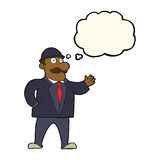 cartoon sensible business man in bowler hat with thought bubble Stock Images