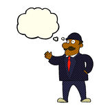 cartoon sensible business man in bowler hat with thought bubble Royalty Free Stock Photos