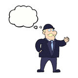 cartoon sensible business man in bowler hat with thought bubble Royalty Free Stock Photography