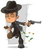 Cartoon serious criminal with gun Royalty Free Stock Image
