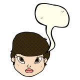 Cartoon serious face with speech bubble Royalty Free Stock Photo