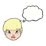 Cartoon serious face with thought bubble Stock Photos