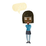 Cartoon serious girl with speech bubble Royalty Free Stock Image