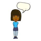 Cartoon serious girl with speech bubble Stock Photos