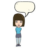 Cartoon serious girl with speech bubble Royalty Free Stock Photography