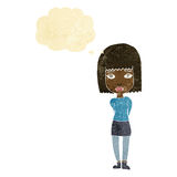 Cartoon serious girl with thought bubble Stock Image
