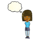 Cartoon serious girl with thought bubble Royalty Free Stock Photo