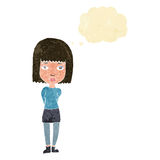 Cartoon serious girl with thought bubble Stock Photo