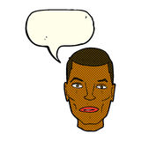 Cartoon serious male face with speech bubble Royalty Free Stock Photo
