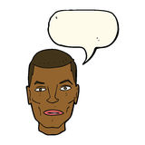 Cartoon serious male face with speech bubble Royalty Free Stock Photography
