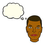 Cartoon serious male face with thought bubble Royalty Free Stock Photos