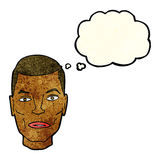 Cartoon serious male face with thought bubble Royalty Free Stock Photography