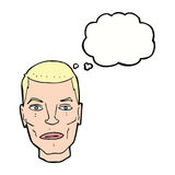 Cartoon serious male face with thought bubble Stock Image